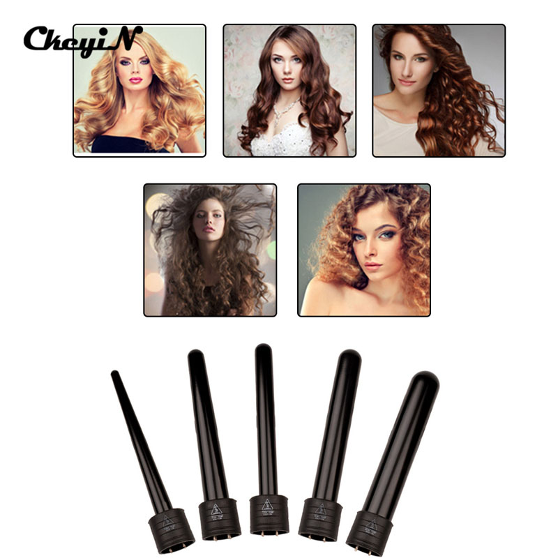 Super Curling Iron Interchangeable Professional 5 in 1 Clipless LCD Display Hair Curler Wand fer a boucler bigoudis coiffure<br><br>Aliexpress