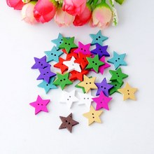 Free Shipping Retail 50PCs Random Mixed Star 2 Holes Pattern Wood Sewing Buttons Scrapbooking 17x18mm F0692