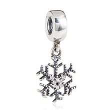 Original 925 sterling silver snowflake floating charm with clear small quartz crystals Fits for Pandora Bracelets wholesale(China)