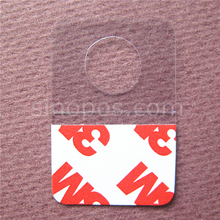 Self-adhesive Merchandising Hang Tabs Round Hole Bulk, box bag package PET PVC hangers peghook, plastic display reinforced tag