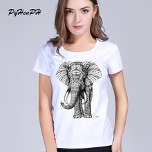 PyHenPH New fashion Elephant printed t shirts women summer tshirts 2017 novelty design casual top tees for girls women tops