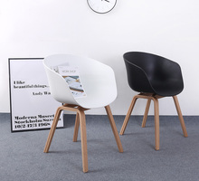 Popular Design furniture Modern Design Wooden leg Plastic PP seat Dining Chair Minimalist cafe Loft Living Room Chair-2PCS