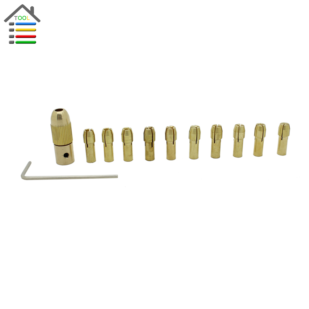 New 12pc/Set 0.5-3.2mm Small Electric Grinder Drill Bit Brass Collet Micro Replaceable Twist Drill Chuck Set Dremel Rotary Tools<br><br>Aliexpress