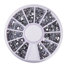 Biutee Nail Tools Clear Transparent Sliver Round Glitter Nail Art Decorations Rhinestones Wheel for Nail Art(China)