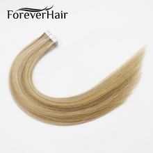 "FOREVER HAIR 2.0g/pc 18"" Remy Tape In Hair Extension Piano Color #10/16/613 Straight European Skin Weft Human Hair Extensions"