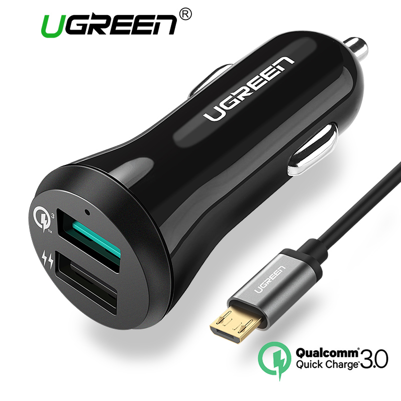 Ugreen Car Charger 5V3A Quick Charge 3.0 Car-Charger with cable Fast Dual USB Port Mobile Phone Car Charger QC2.0 Compatible(China (Mainland))