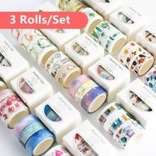 3pcs/pack Washi Masking Tape Set Petal Animal Flower Paper Masking Tapes Japanese Washi Tape Diy Scrapbooking Sticker, 15mm x 5m(China)