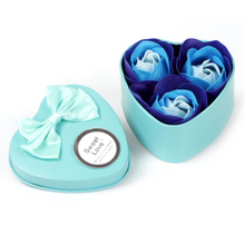New Arrive 3Pcs Scented Paper Rose Bath Soap Set Creative Wedding Gift Hearted Shape Rose Flowers Gift Box For Valentine's Day