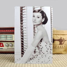 Audrey Hepburn/Hollywood movie star/sexy beauty/Metal Signs Wall Art decor Bar Retro Iron Painting Tin painting(China)
