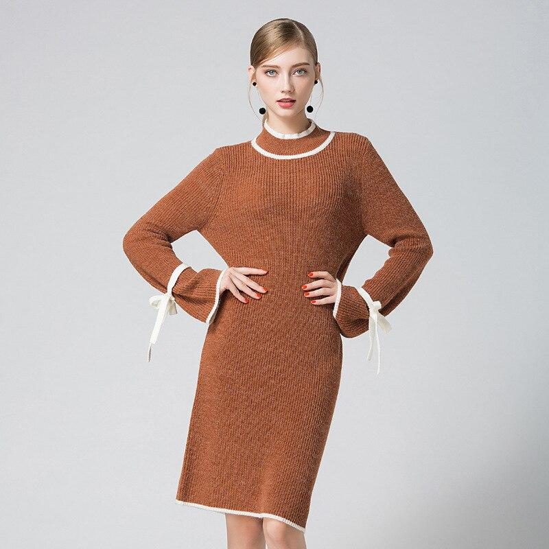 HMCHIME 2017 Autumn winter women knitted dress fashion sexy elastic flare sleeve half turtleneck package hip woman dress HM673Îäåæäà è àêñåññóàðû<br><br>