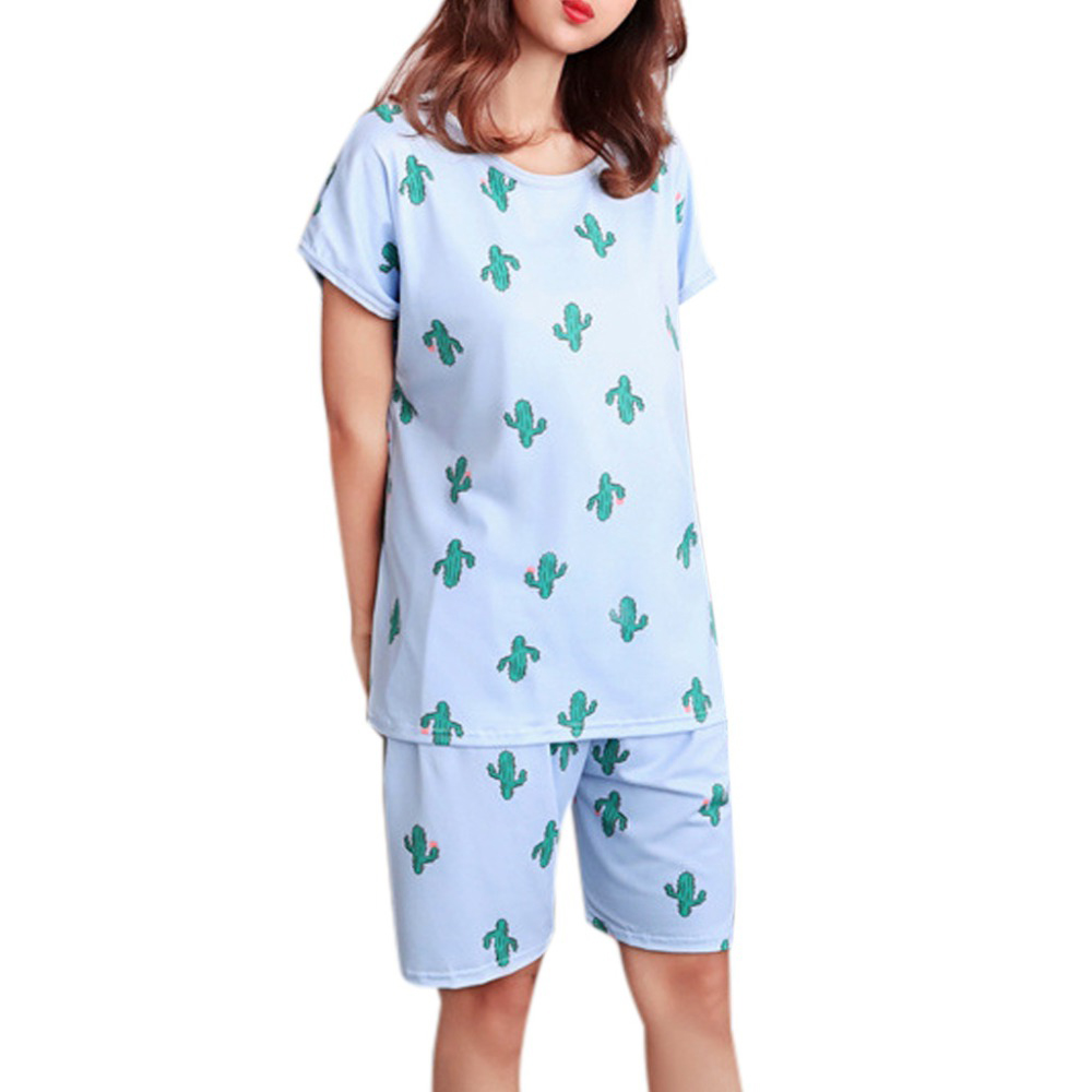 Pijama Women Cute Sweet Girls Summer Short Sleeve Sleepwear Cartoon Plus Size Pajamas Loose(China)