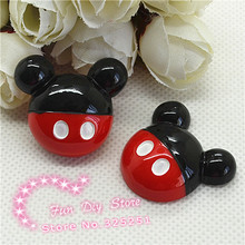 wholesale 25*28mm 50pcs red point mickey resin flat back cabochon hair bow center scrapbooking(China)