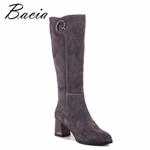 Bacia Grey 양 Suede Boots Crystal Round Toe 6.5 센치메터 힐 Genuine Leather Shoes Warm 울 퍼 Short 봉 제 Boot size 35 ~ 40 SB059(China)