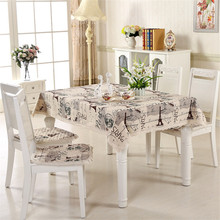tablecloth set dining table chair cushion cover eiffel tower printed 130*180cm cotton restaurant table cloth decoration