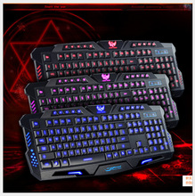 Computer gaming keyboard with 3 colors backlight and adjustable brightness for laptop desktop PC English version plug&play