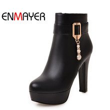 ENMAYER Crystal Shoes Woman High Heels Round Toe Platform Ankle Boots for Women Zippers Plus Size 34-45 Black Motorcycle Boots