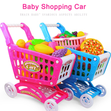 Children's supermarket plastic shopping cart with fruit and vegetable kitchenware mini plastic car toy(China)