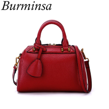 Burminsa Brand 100% Genuine Leather Bags Women Small Boston Tote Bags Designer Handbags High Quality Shoulder Crossbody Bags