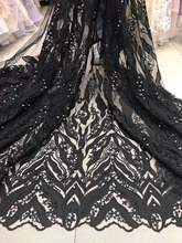 The latest elegant Nigerian chiffon lace French lace fabric with gem and beaded high quality African bridal lace fabric wedding(China)