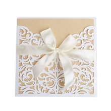 10Pcs Sample Hollow Laser Cut Wedding Invitations Card Personalized Custom with Ribbon Envelope Seals Party Supplies W215(China)
