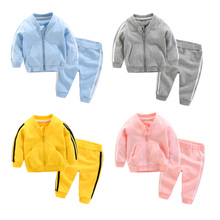 2017 New Fall Baby Boys Girls Sport Set Cotton Ziper Jacket Pant Casual Unisex Infant Children Clothes 3m 6m 9m 1y 2t 3t - Candy's babies & kids store