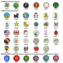Free Shipping Crystal Golf Ball Marker Match Most of Golf Hat Clips and Divot Tools(5PCS !!!)