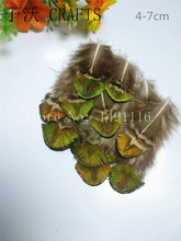 New! Free shipping sell 20 pc natural quality golden Peacock feathers, 4-7cm long, diy jewelry decorative accessories
