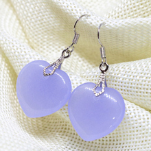 Free shipping violet purple chalcedony earrings eardrop heart shape 20mm fashion women weddings party fine jewelry B1680