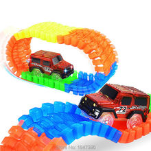 56PCS Diecast DIY Puzzle Toy LED light up race cars Roller Coaster Track glowing Electronics Toy Flex Rail Car Toy for Children(China)