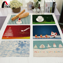 Creative Christmas Tree Printed Polyester Table Napkin Dinner Wedding Party Merry Christmas Table Napkins Cloth Deer Santa Claus(China)