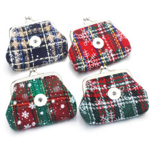 2 PCS/lot 18MM Christmas Snowflake Snap Buttons Jewelry Coin Purses Small Wallets Pouch Women's Money Bags For Gift 2060