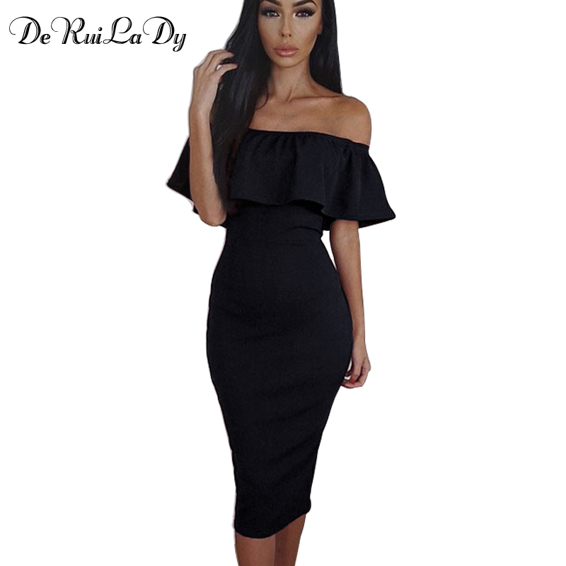 DeRuiLaDy Women Casual Maxi Dress Summer Fashion Off Shoulder Bodycon Dresses Womens Club Party Sexy Pencil Dress vestidos(China (Mainland))