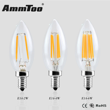 E14 LED Filament Candle Bulbs 220v 360 Degree Edison Bulb Ampoule Led Lamp Light Replace Incandescent Energy Saving Dimmable(China)