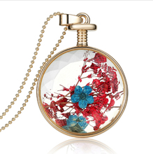 New 1PCS Dried Flowers Plant Specimen Round Glass Floating Locket Living Charms Pendants Necklace Valentine's Day