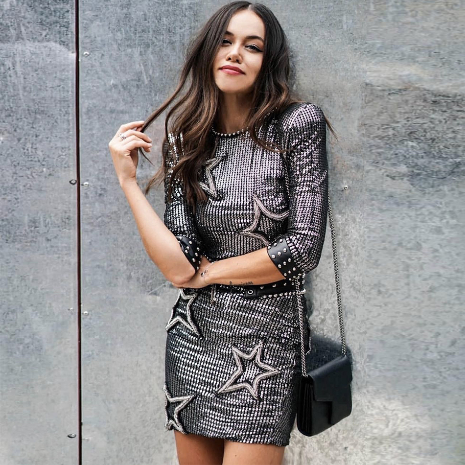 Seamyla 2019 New Fashion Women Sequined Dress Luxury Beaded Celebrity Party Dresses Vestidos Runway Night Out Club Mini Dress