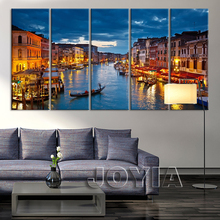 5 Panel Large City Wall Art Canvas Print Venice Canal and Gondolas Wall Pictures For Living Room Decoration Light Night No Frame