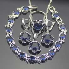 Unique Round 925 Sterling Silver Blue Cubic Zirconia Jewelry Sets For Women Earrings/Pendant/Necklace/Rings/Bracelets