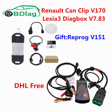 Reprog Gift Renault Can Clip V170+Lexia3 PP2000 Diagbox V7.83 Lexia 3 OBD Diagnostic Tool For Citroen/For Peugeot Can Clip V170(China)