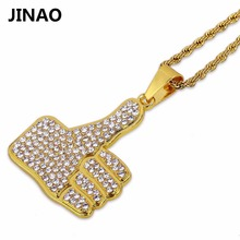 JINAO Hip Hop New Fashion Iced Out Jewelry Necklace Rope Chain Gold Color Crystal Rhinestone Hand Big Finger Necklace Pendant(China)