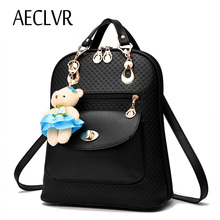 AECLVR New Fashion Fur Ball Decor Backpack Solid PU Leather Softback School Bag For Girl Teenager Sweet Beauty Ladies Bags Red