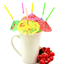 HOT 50pcs/bag Umbrella Drinking Straws Parasol Cocktail Paper Straws Party Decoration Color Assorted(China)