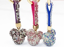 Crystal Mickey Head keychain 2017 New Fashion multicolor key chain Mobile phone shell Women bag charm pendants 3Colors