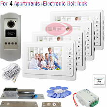New 7inch RFID Cards Unlock Outdoor CCD Camera Video DoorPhone Intercom Door bell For 4 Apartments+Electronic Bolt Lock In Stock