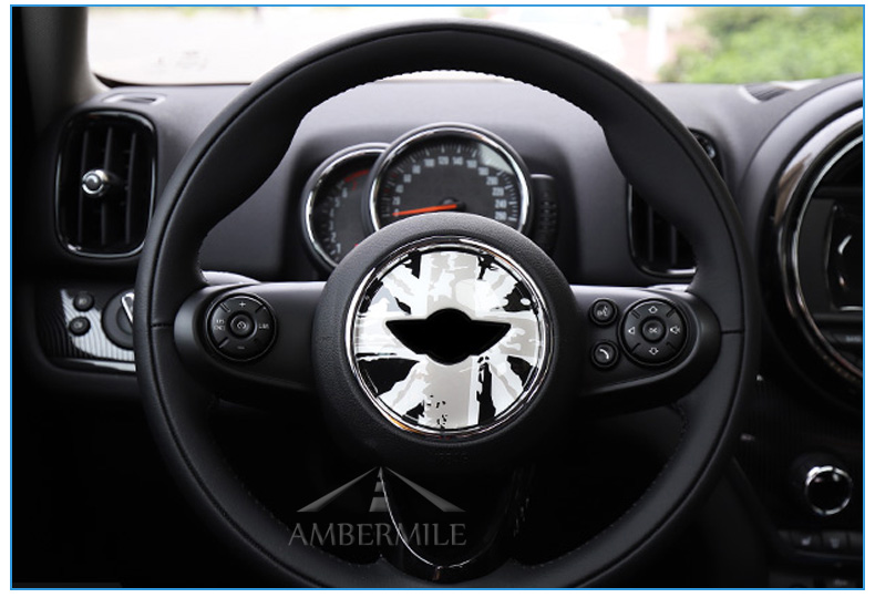 3D Car Steering Wheel Center Stickers Covers Interior Decorations for MINI Cooper JCW F55 F56 Accessories Car Styling (8)