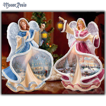 MOONCRESIN Diy Diamond Painting Cross Stitch Two Angels Christmas Lights Diamond Embroidery Christmas Diamond Mosaic Decoration(China)