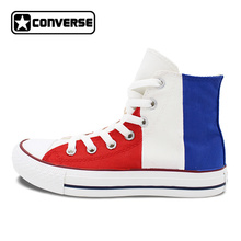 France Flag Original Design Converse All Star Men Women Shoes Hand Painted High Top Canvas Sneakers Christmas Gifts(China)