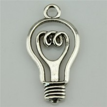 Appliances Light bulb  10Pcs Antique Silver Zinc Alloy Charms Pendants for Jewelry Making charm Handmade DIY 46*24mm
