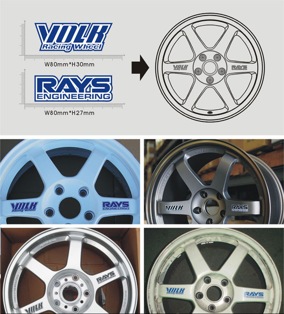 Car-styling Volk Rays Car Rims Sticker and Decal Waterproof Motorcycle Wheels Accessories for Audi Vw Skoda Toyota Peugeot Kia(China (Mainland))