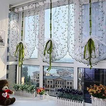 Rural Fresh Hand Embroidered Floral Shade Sheer Voile Door Cafe Kitchen Curtain