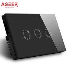 ASEER,AU/US Wireless touch electric Wall Switch,3Gang 1Way push button light switch 2500W,Waterproof Crystal Glass Switch Panel
